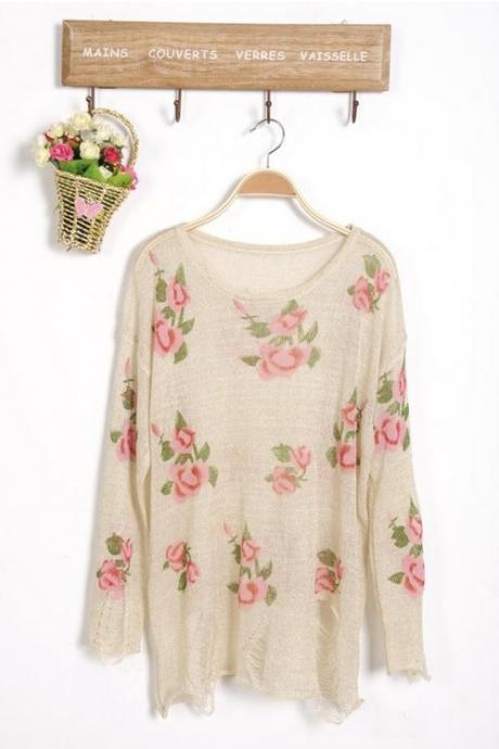 Wild Roses Ripped Sweater - Beige