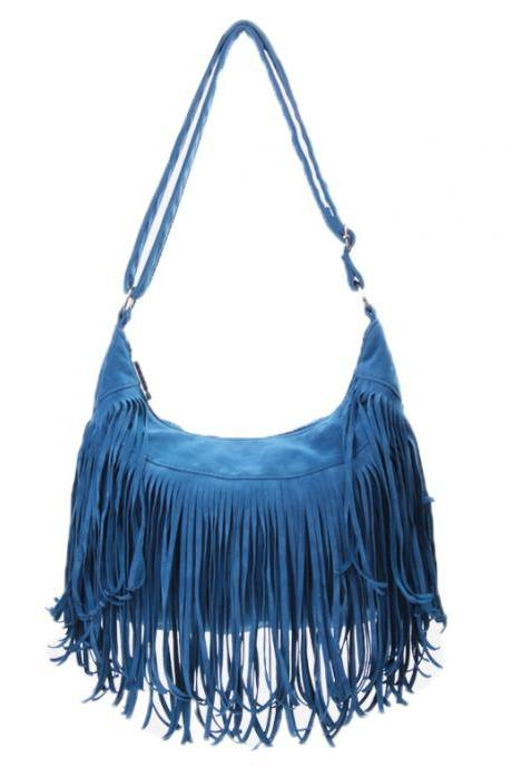 Cute Blue Tassel Messenger Bag