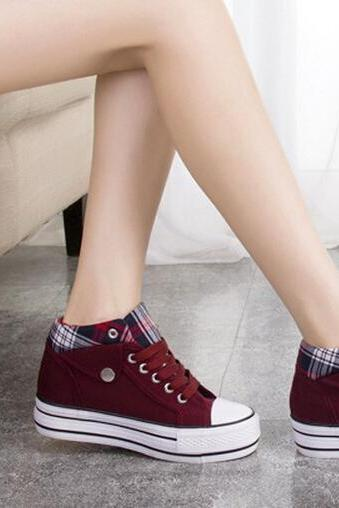 In the new winter increased canvas shoes shoes color matching students leisure shoes new code shoes