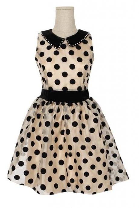 New Beige Turn-Down Collar Dot Above Knee Sleeveless Ball Gown Dress Polka