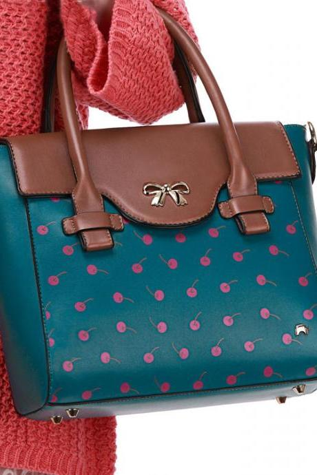 Sweet Contrasting Colors Bowknot Cherry Printed Messenger&Shoulder Bag