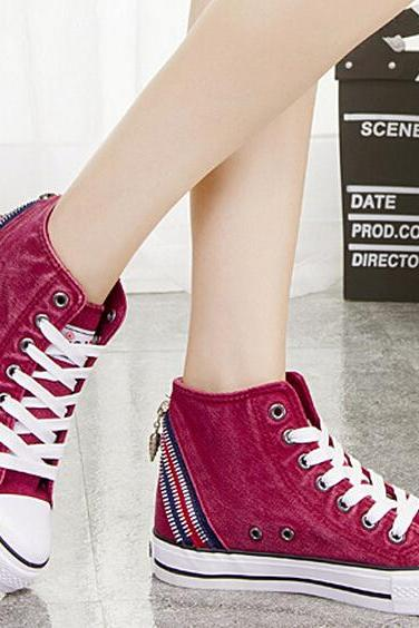 The new Korean winter washing of denim fabric canvas shoes female high help board shoes