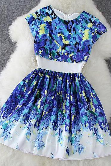 Fashion printed round neck short-sleeved dress two-piece #100313HK