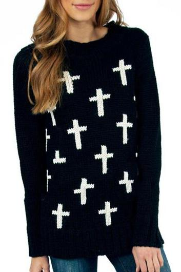 Vogue Long Sleeve Round Neck Knitting Wool Sweater - Black