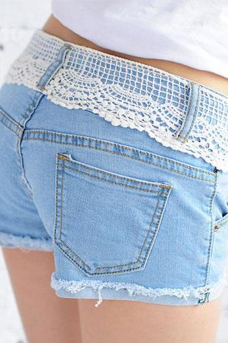 White Lace Frayed Hot Pants Denim Cutoffs Shorts