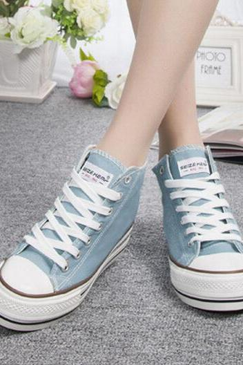 Autumn high help white canvas shoes in female Korean students increased tidal shoes shoe of sponge cake