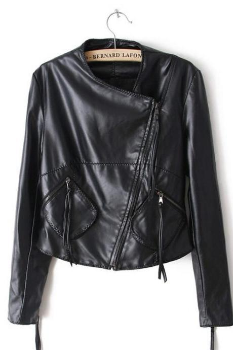 Long Sleeve Cardigan Slant Zipper Cropped Leather Jacket Coat