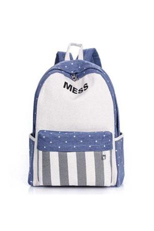Leisure Star Strip Print Backpack Schoolbag
