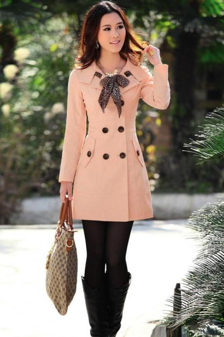 Double Breasted Trench Coat With Leopard Scarf