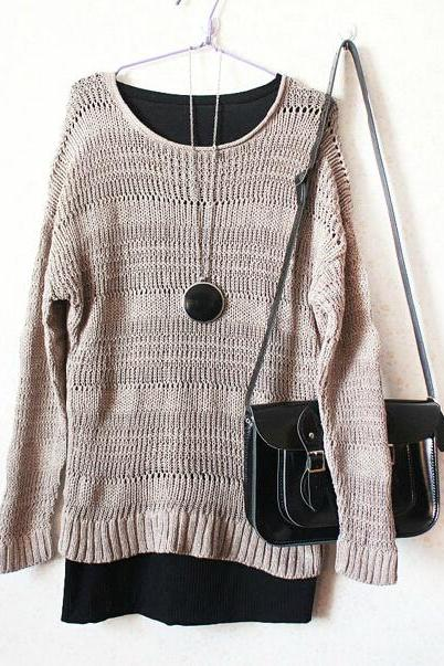 Pierced Loose Knit Sweater Az910C