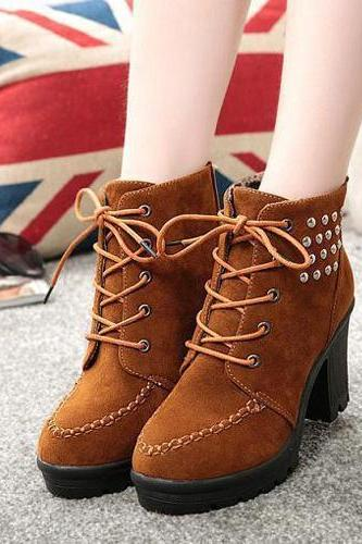 Fashion Rivets Thick High-Heeled Lace Up Ankle Boots Booties