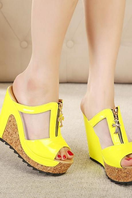 Female Mixed Colors Wedge Sandals With Platform