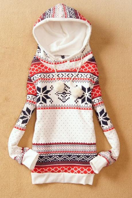 Vintage Pattern Sweet Hooded Tops