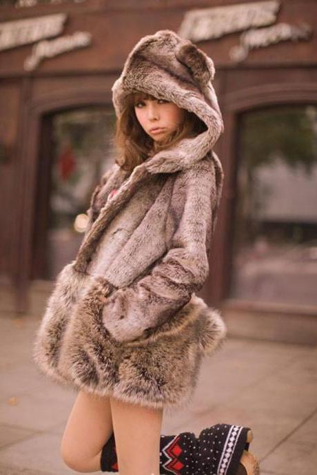 Lovely Bear Hooded Fluffy Faux Fur Coat
