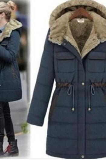 Winter Coat Hood Parka Overcoat Long Jacket Outwear