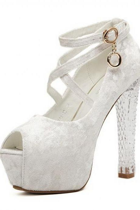 Women'S Strap Faux Suede Peep Toe Platforms With Transparent Heel