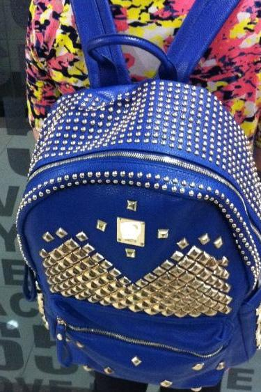 Cool Punk Style Rivet Pure Backpack - Blue