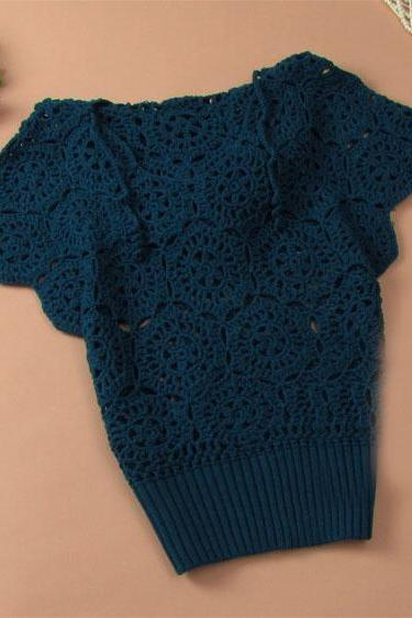 Elegant Floral Crochet Hollow Out Batwing Sleeve Shirt - Acid Blue