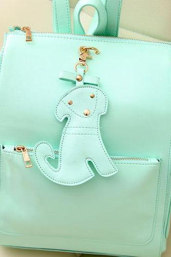 Fashion Dog Pendant Mint Green Cute Backpack - Light Green
