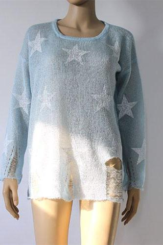 Fashion Loose Fitting Star Print Knit Sweat - Light-Blue