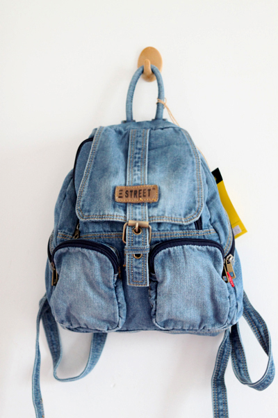 Leisure European Style Blue Denim Backpack - Dark Blue