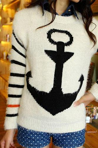 Navy Style Anchor Strip Print Soft Sweater - Black