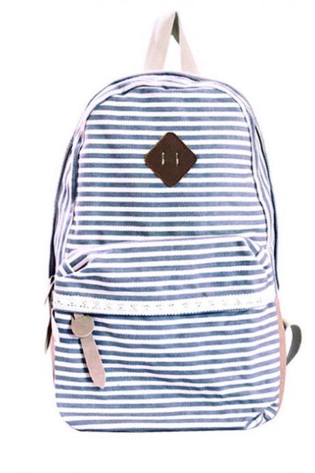 Retro Strip Print Lace Canvas Backpack - Gray