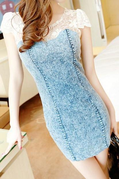 Lace Stitching Denim Dress