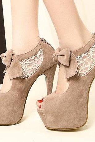 Comfortable Peep Top Apricot Suede Stiletto Bow Sandals