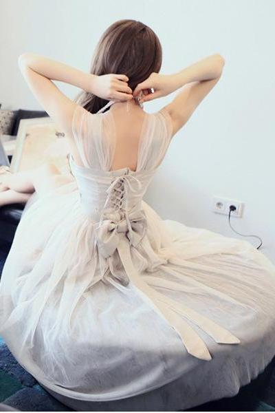 Fantastic Open Back Lace-Up Organza Dress With Bowknot Pretty Organza Dresses Summer Dresses 2014