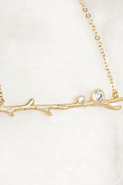 Gold Twig Branch Necklace, Woodland Nature Inspired, Bridesmaid Gift