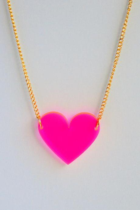 Bright fluorescent neon hot pink laser cut heart pendant on delicate curb chain // statement necklace