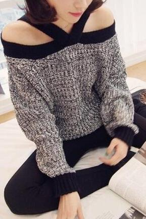Sexy strapless loose knit sweater #100405AD
