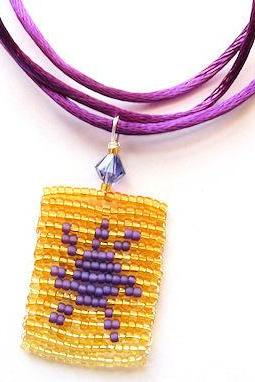 Tangled Sun Lantern At Last I See the Light Rapunzel Inspired Beaded Necklace Purple Gold Amber