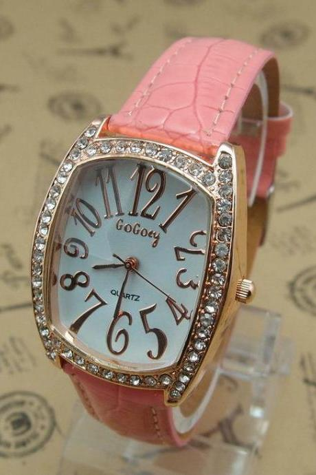 Rectangle rhinestones leather strap woman watch