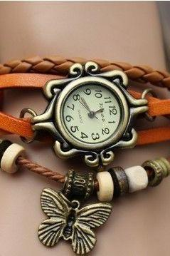 Vintage bracelet wrap leather butterfly girl watch