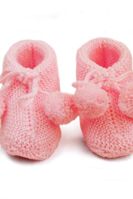 Pink Wool Knitting shoes Knitted baby bootie Hand Knit Baby socks Wool Baby WK1