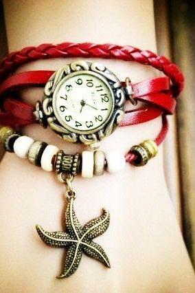 Star pendant leather vintage girl watch