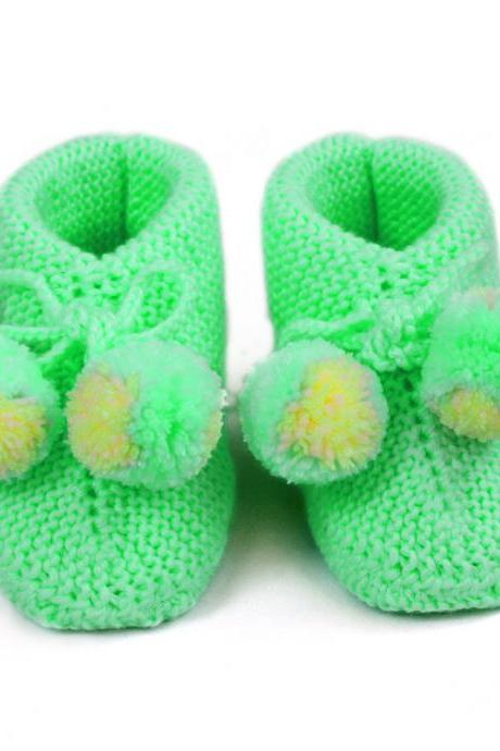 Knitted baby bootie Wool Knitting shoes Hand Knit Baby socks newborn booties WK3