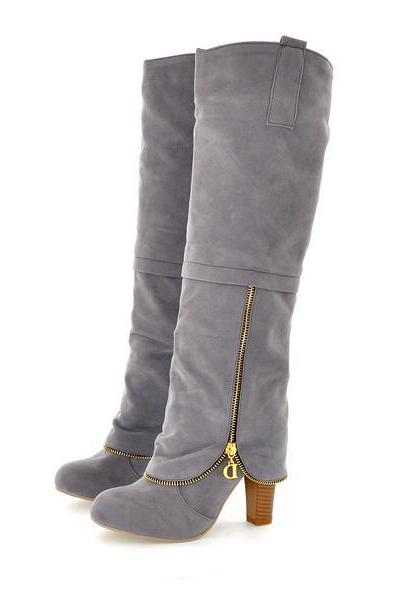 Winter Round Toe Chains Chunky High Heel Grey Suede Knee High Cavalier Boots