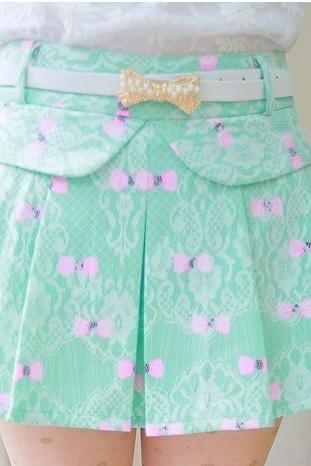 Bow Pattern Lace Skirt (with Belt )