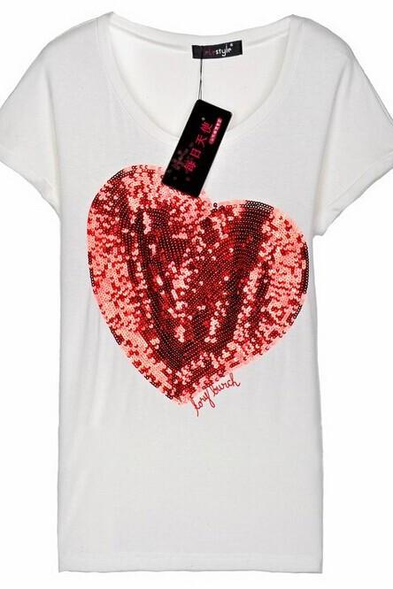 White Basic Tee Featuring Red Sequinned Heart and Scoop Neckline