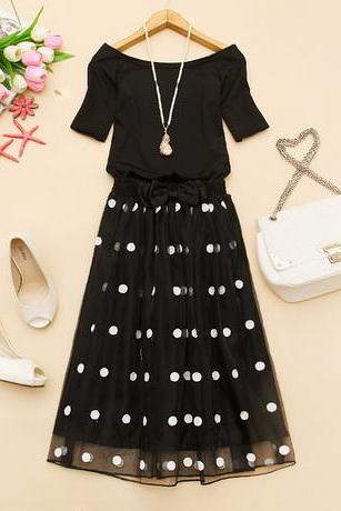 Polka Dot Skirt And T-shirt Two-piece Suit