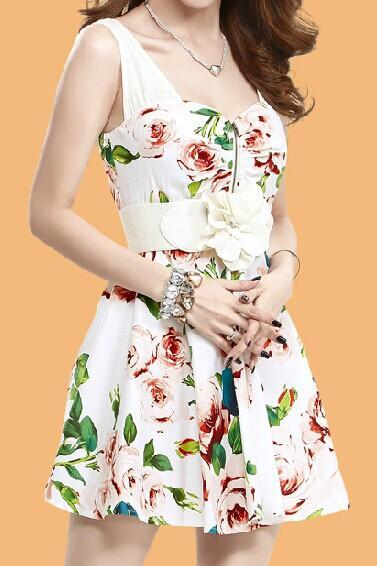 Printed Chiffon Sleeveless Dress