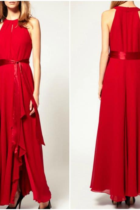 Gorgeous Red Halter Chiffon Dress