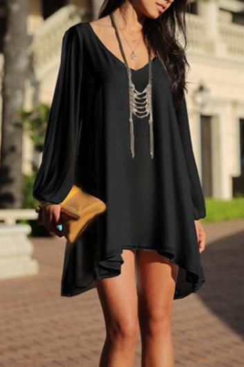 Bohemian Style V Neck High Low Dress in 2 Colors