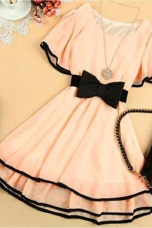 BAT SLEEVE SLIM CHIFFON DRESS