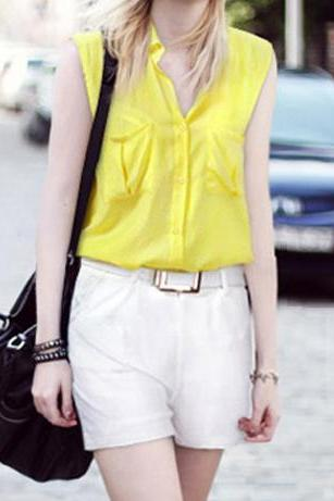 Fashion Sleeveless Collar Shirt + Low-waist Harem Pants Two-pieces Suit