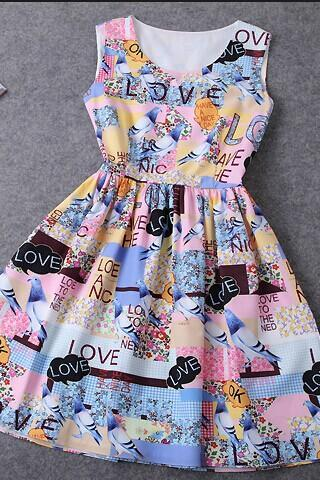 Painted Print Dress