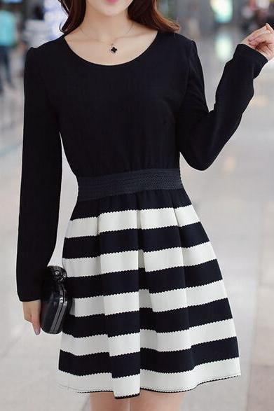 Slim round neck long-sleeved striped dress AX100501ax